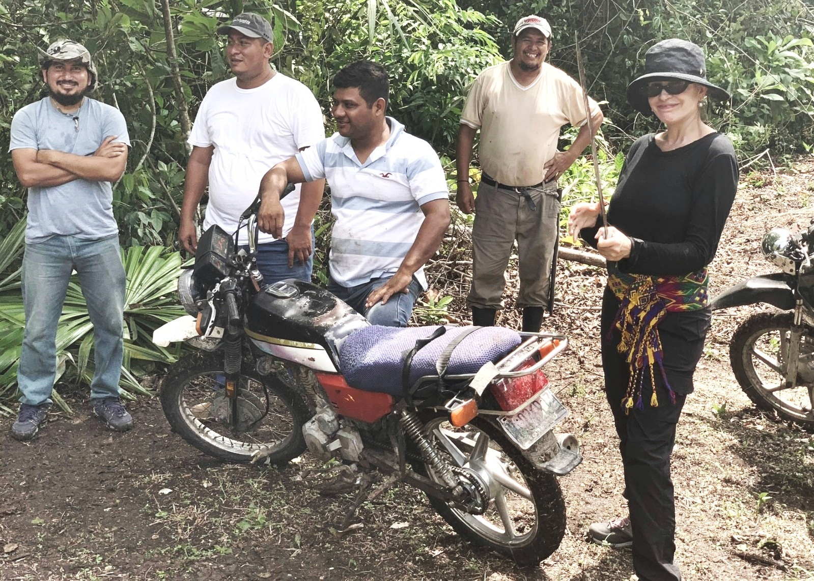 """Carmen and crew: """"small machetes are essential in the jungle for cutting off branches and plants that get in your way""""."""