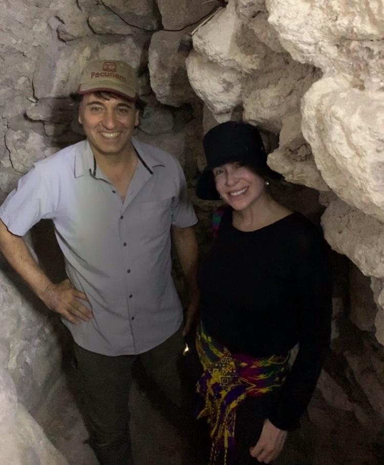 Maya archaeologist Dr. Francisco Estrada Belli and Carmen down under in Holmul.