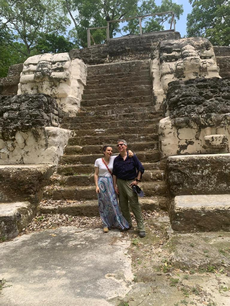 Pacunam president Marianne Hernandez with leading Maya archaeologist Dr Stephen Houston.