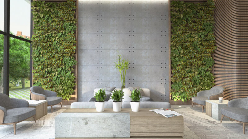 Green 'living walls' bring the outside in and create a healthier atmosphere in a home / Photo: Dig This Design.