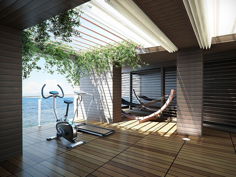 This beach home features an indoor-outdoor gym / Photo: Dig This Design.