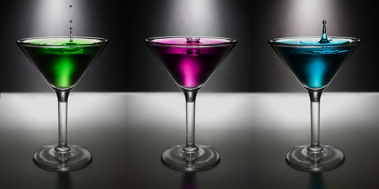 eat drink be merry 3 martinis green purple blue