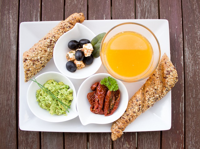 Healthy tapas plate wood table