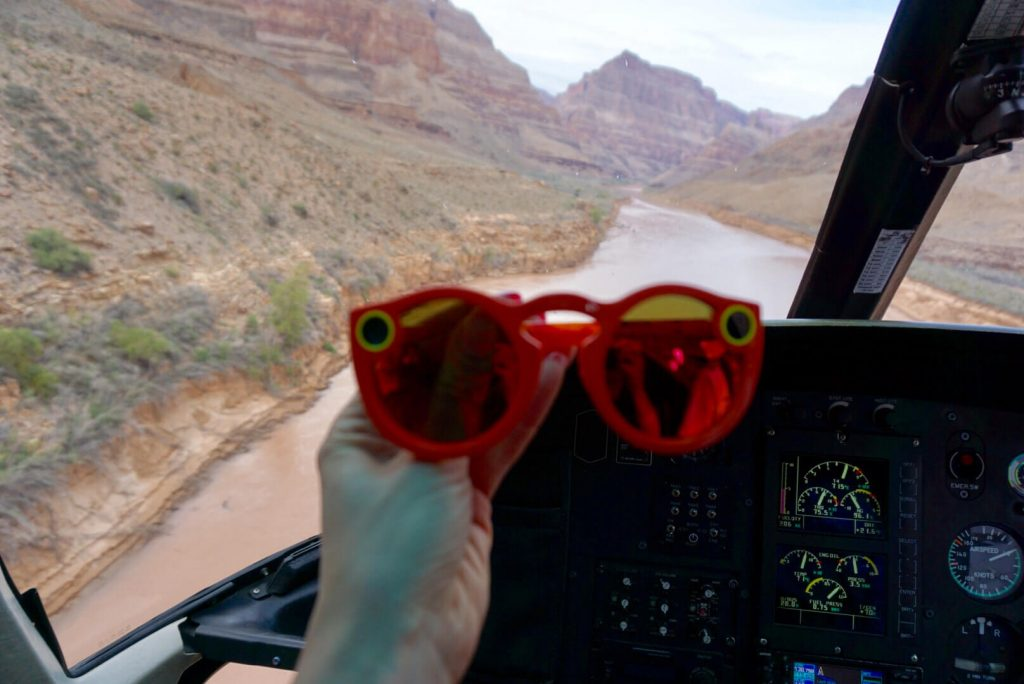 Snapchat Spectacles cockpit flying over Grand Canyon