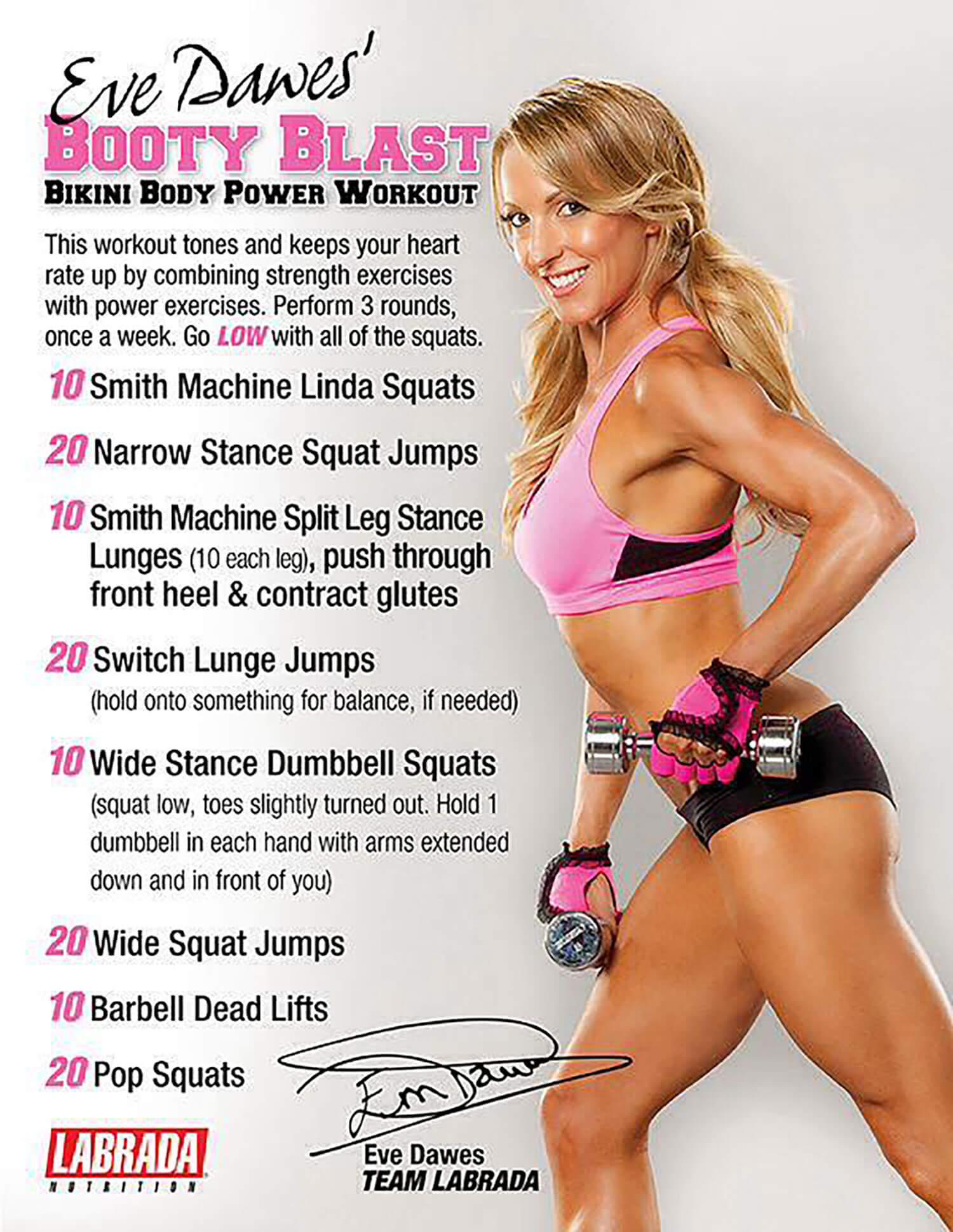 Butt workout free download fitness model Eve Dawes pink sports bra