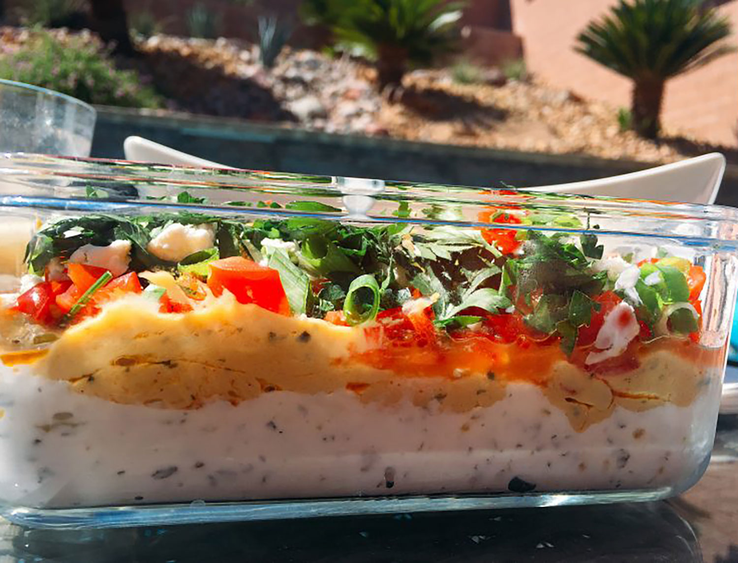 Low Fat 7 Layer Greek Dip. Look at those yummy colorful layers.