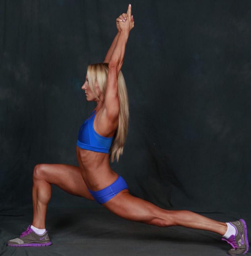 warrior pose yoga fitness model Eve Dawes