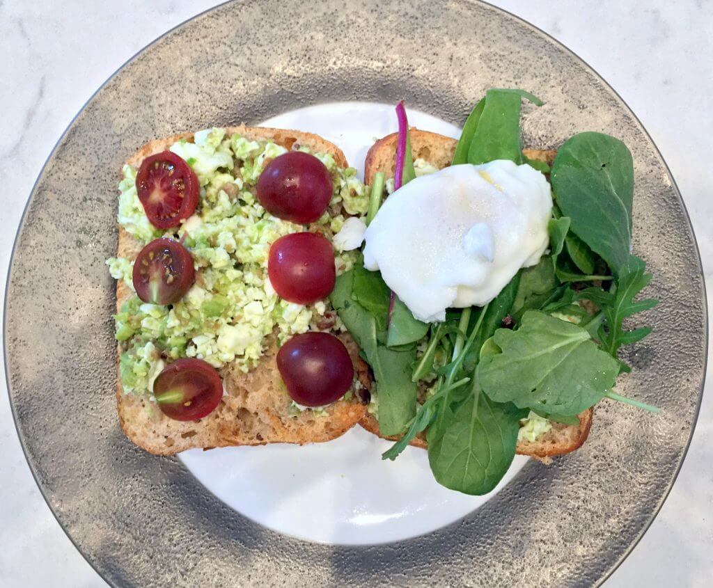 Classic avocado and poached eggs on toast elevated