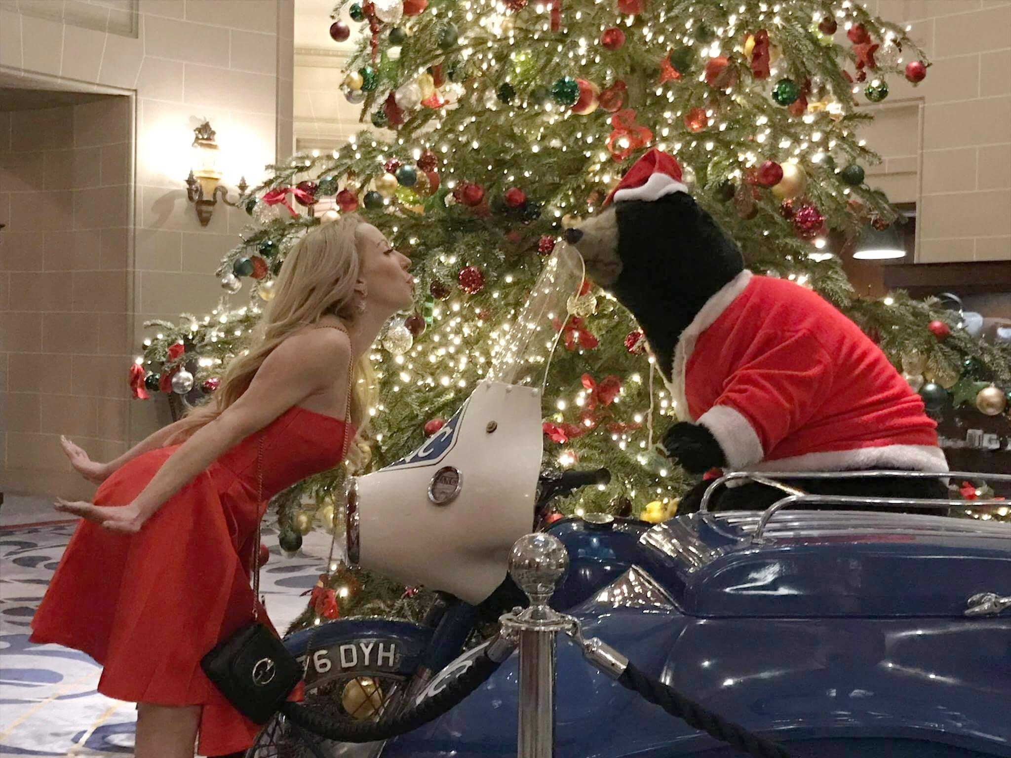 Eve Dawes Royal Automobile Club London Christmas kissing bear avoiding binge eating