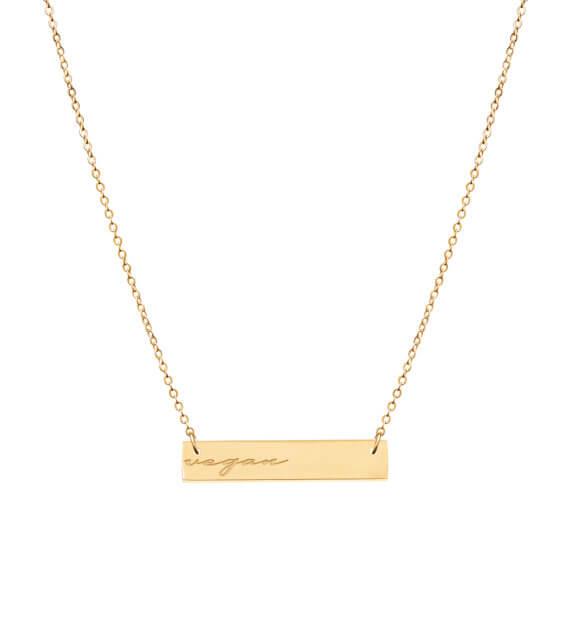 vegan christmas gift Reversible Gold bar necklace engraved vegan