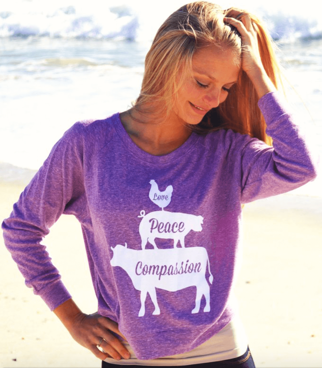 Love, Peace, Compassion Vegan sweatshirt