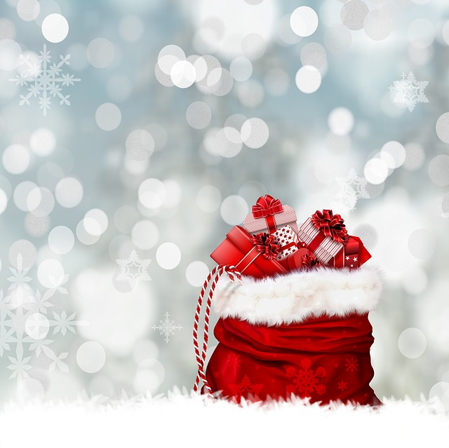 Red Santa sack holiday gifts snow background