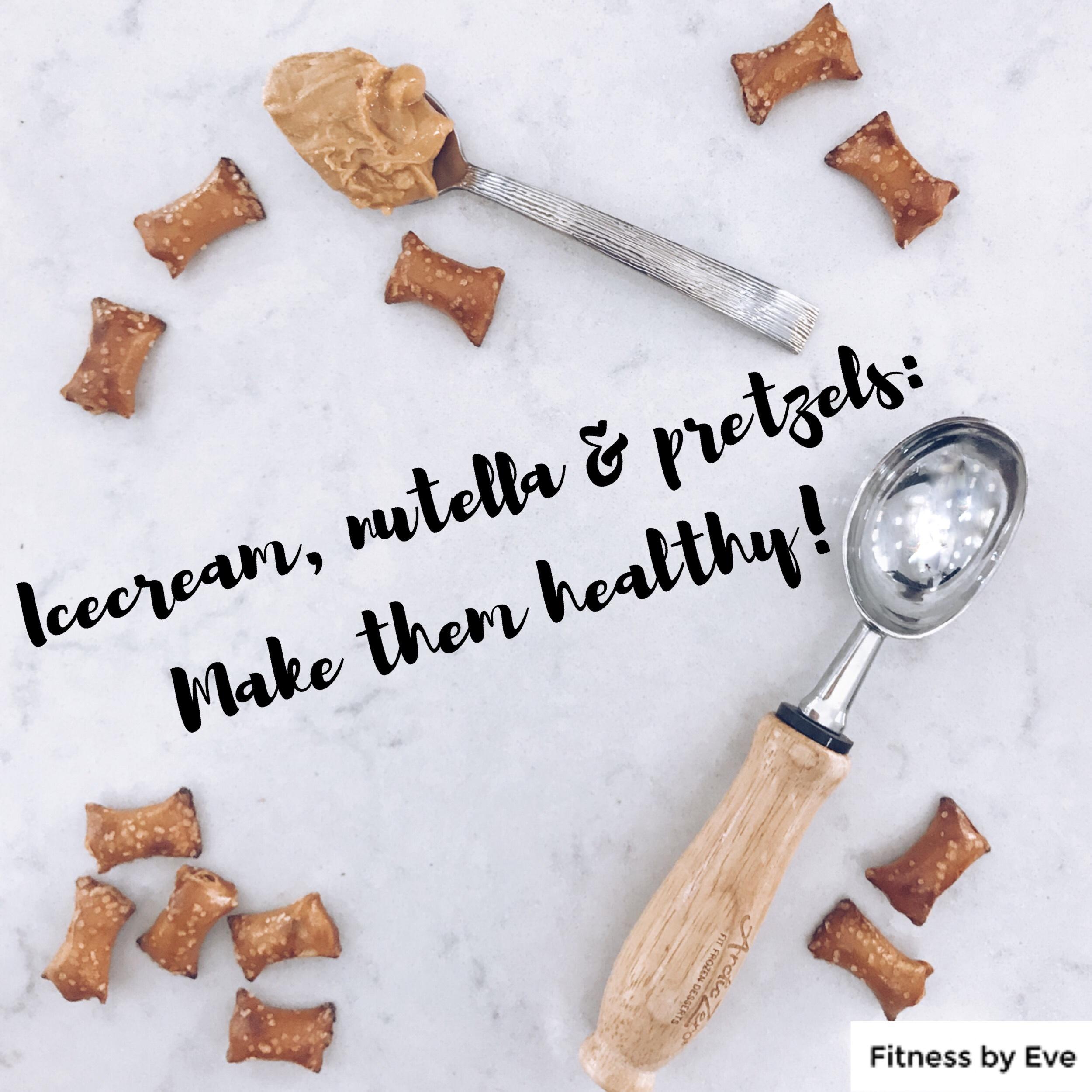 Pretzels, ice cream scoop, peanut butter on spoon