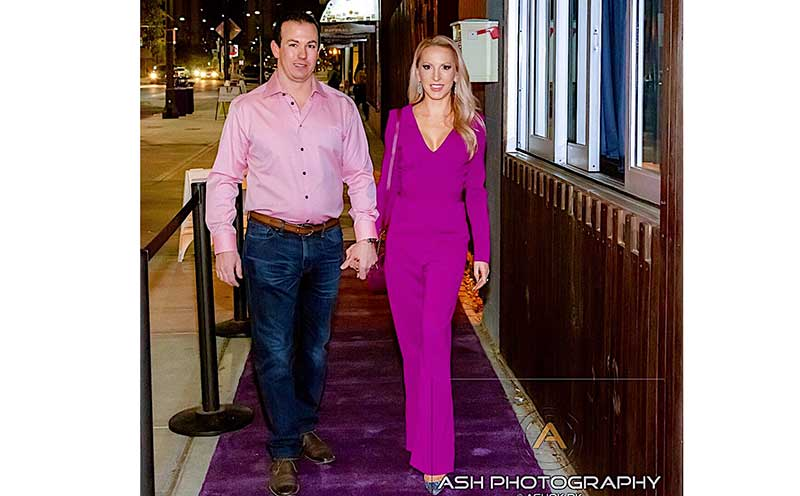 Episode 2: Glamour & Gains podcast. Eve Dawes & her husband attending a charity event.