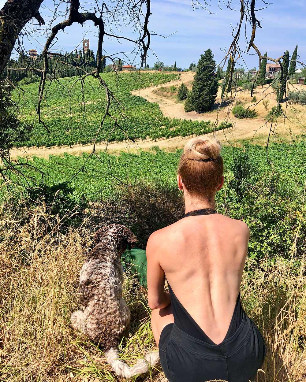 Tuscany vineyards truffle hunting dog Glamour Gains travel blog
