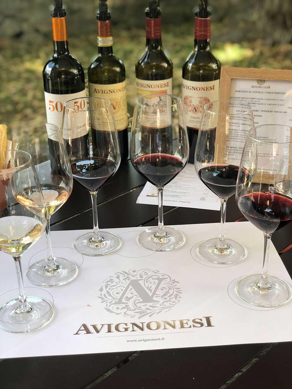 Wine tasting flight Avignonesi Winery Montepulciano Italy