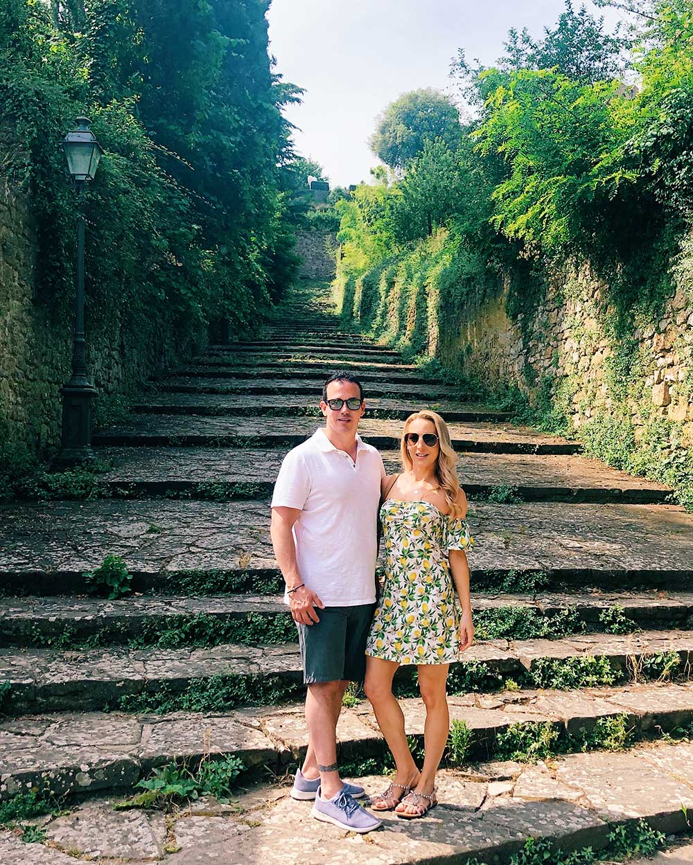 romantic couple steps Volterra Italy