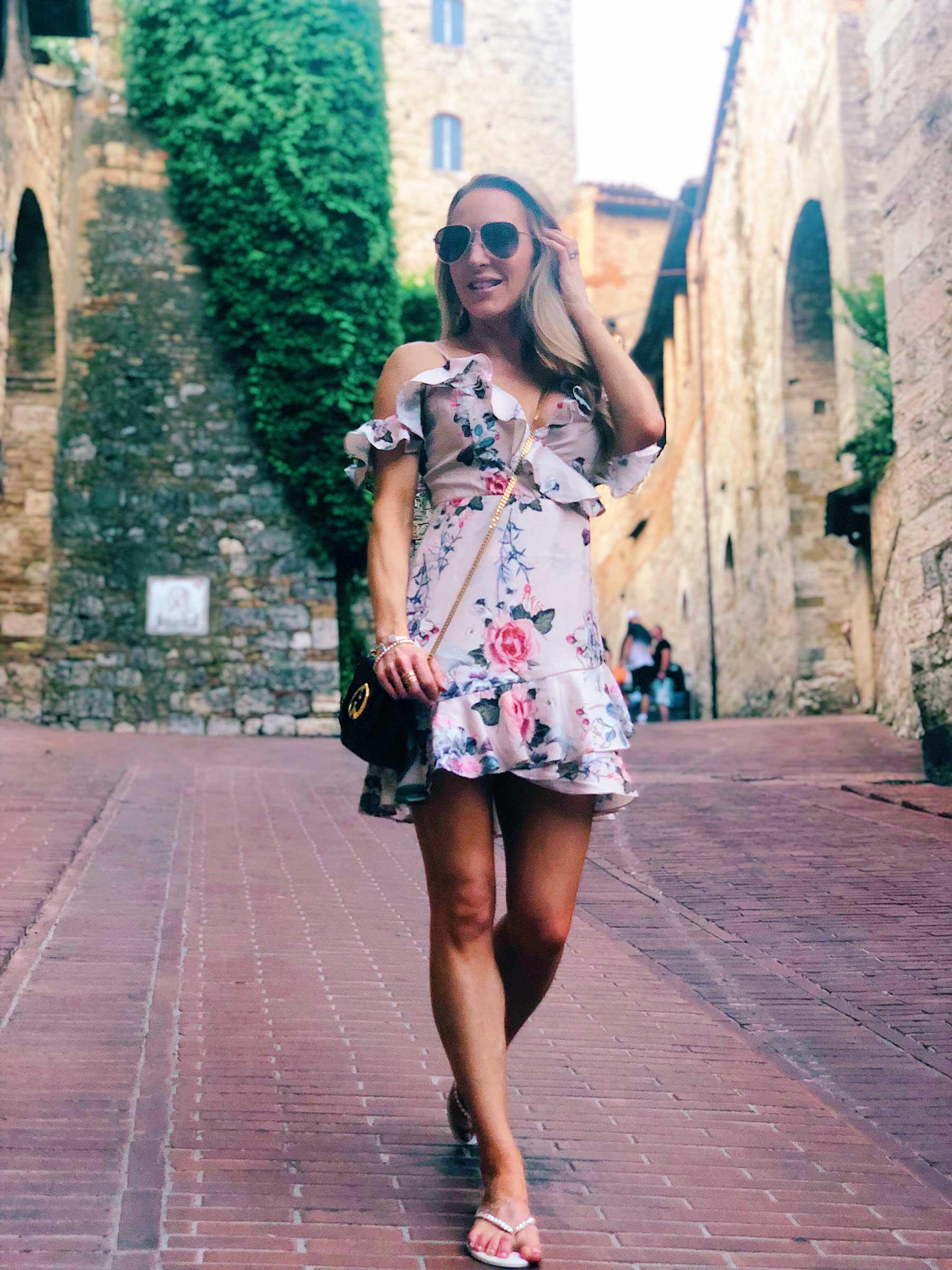 Exploring San Gimginano Tuscany Eve Dawes floral dress