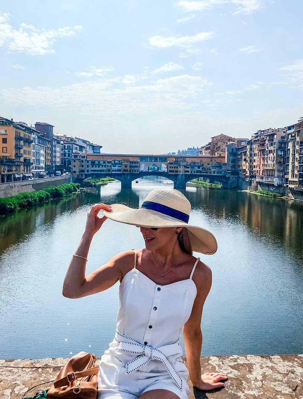 Bridge over River Arno Florence Eve Dawes sat sun hat