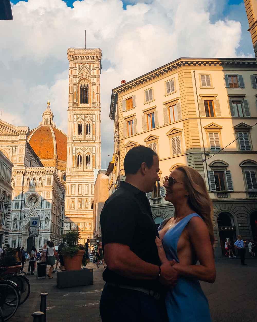 Romantic couple Venice Piazza Del Duomo