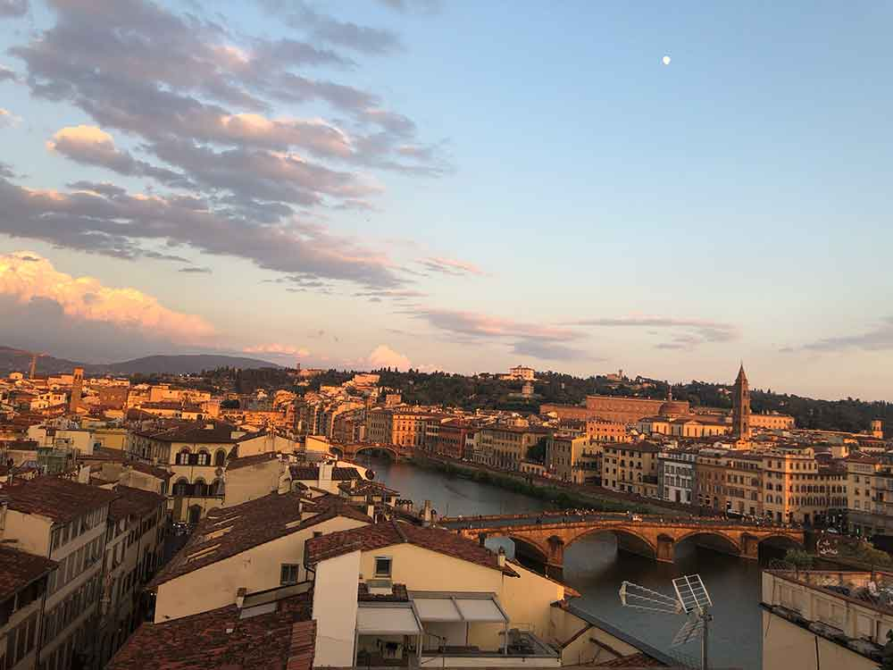 Florence panaromic sunset views rooftop westin excelsiore bar