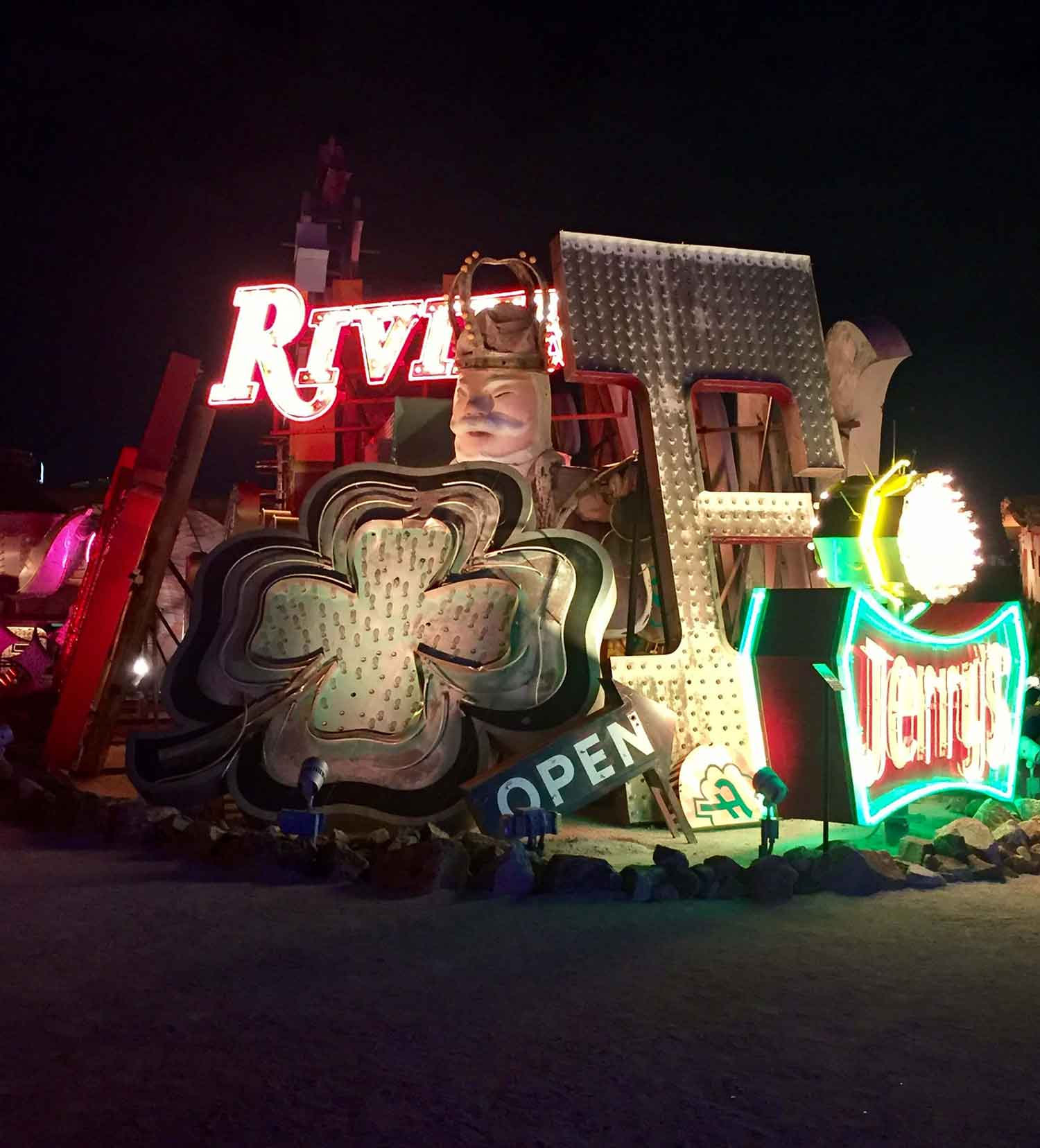 Neon Museum Vegas at night to snap Instagram pictures