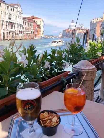 Aperol Spritz Grand Canal Bar Foscarini Venice Italy