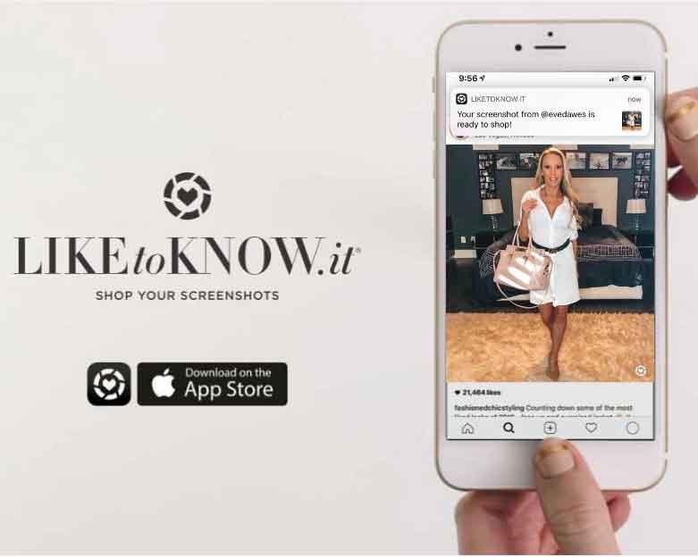 LiketoKnowit app interface shop screenshots model Eve Dawes
