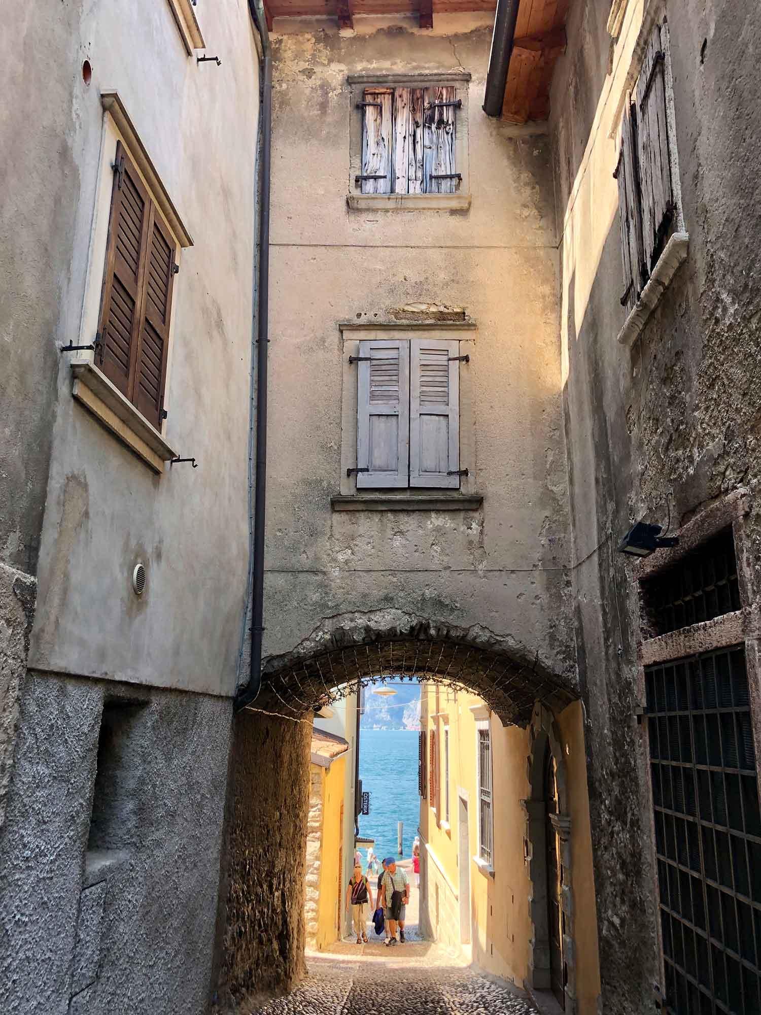 historic narrow street malcesine lake garda Italy