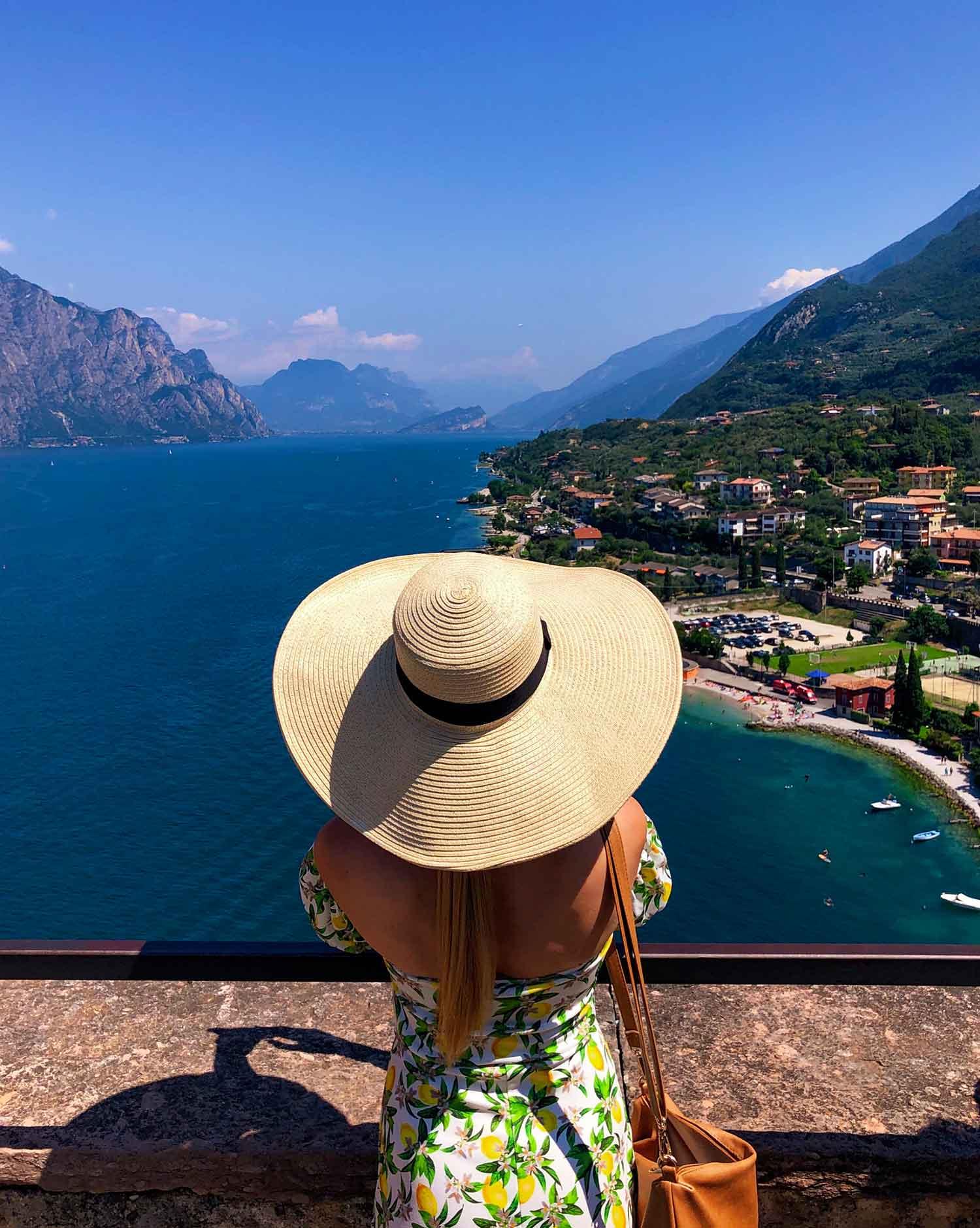 Panoramic view top Castello Scaligero blogger travel Eve Dawes lemon dress