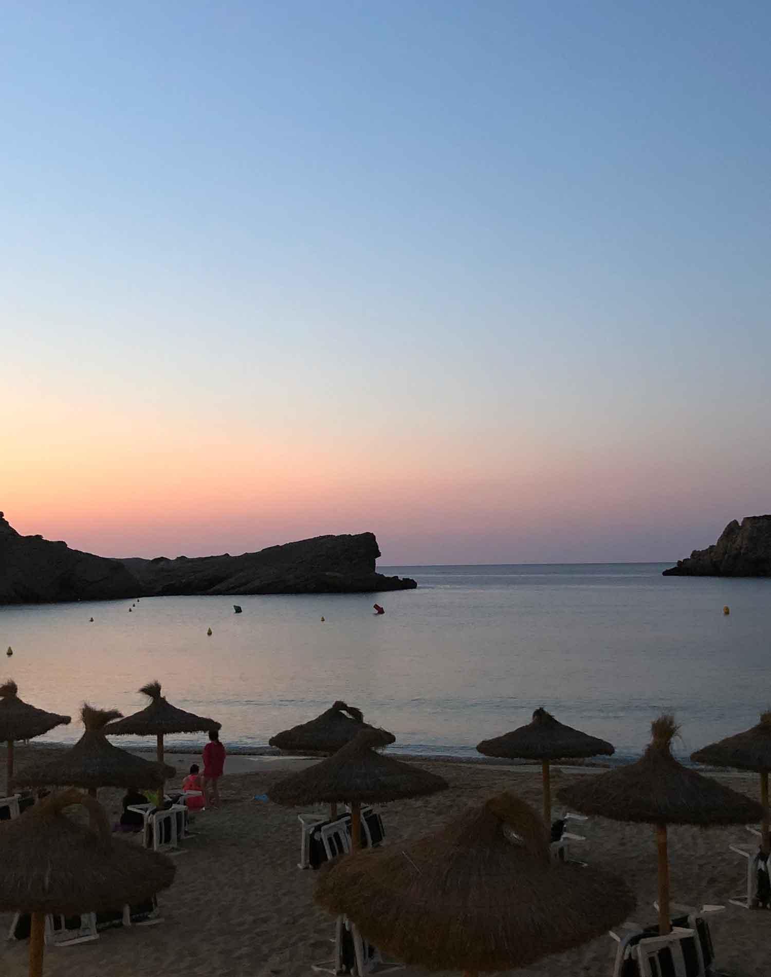 Arenal Den Castell Menorca sunset beach ocean