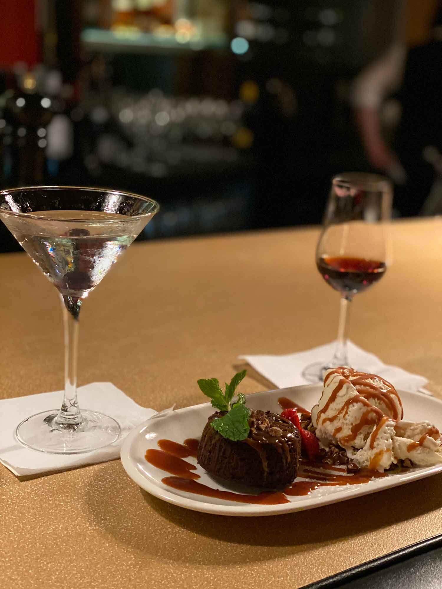 Business travel dinner out Molten chocolate cake icecream dessert martini
