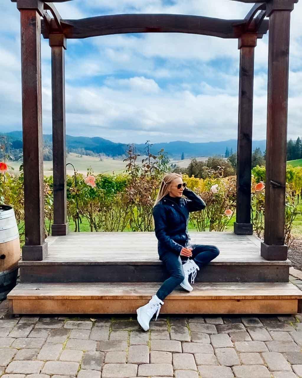 Fitness blogger Eve Dawes sat vineyards Oregon business travel