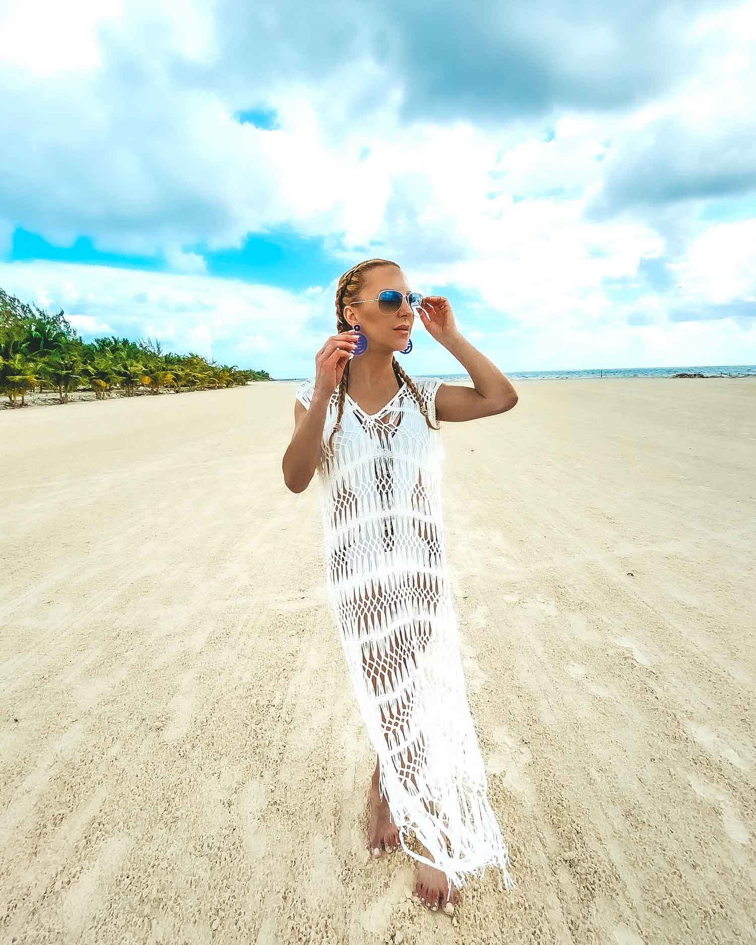 """Mexico Beach Wear. Femme Luxe Finery White Crotchet Tassle Midi Dress- Micha  (more of a maxi if you're under 5'5"""")"""