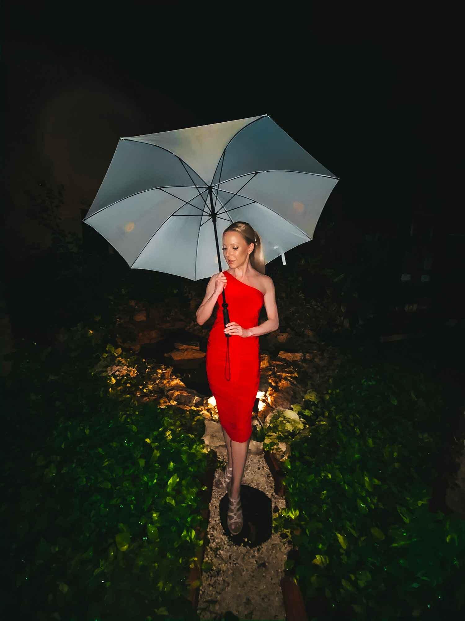 Fashion blogger Eve Dawes Femme Luxe Finery Red One Shoulder Slinky Midi Dress resort wear