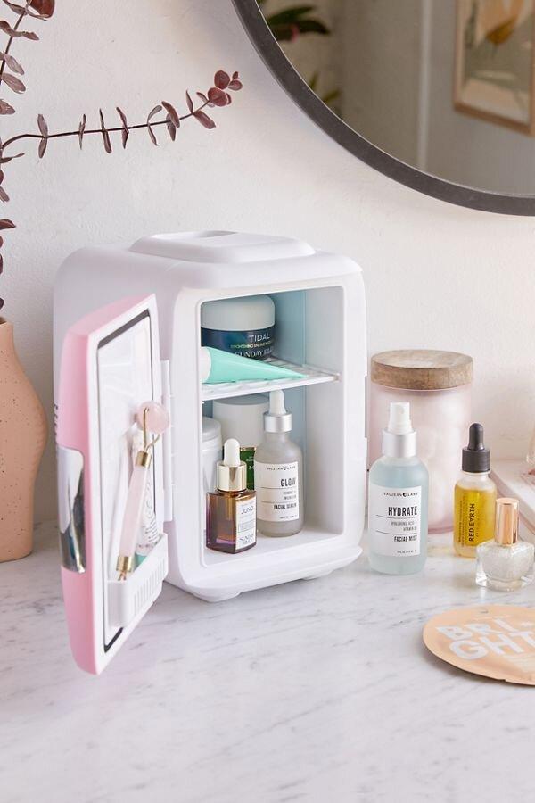 Pink mini makeup fridge