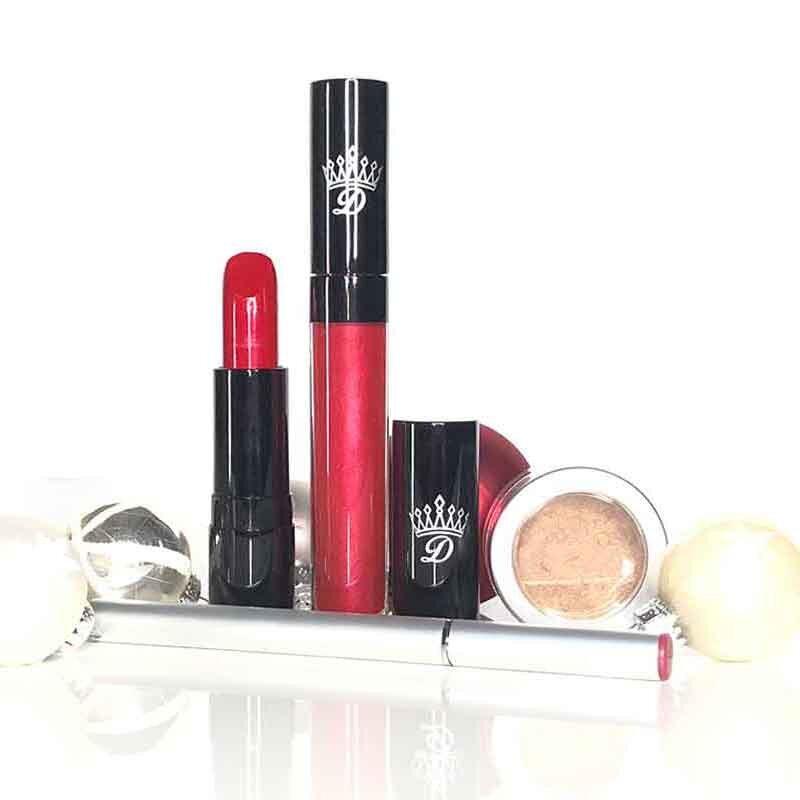 Dawes Custom Cosmetics vegan christmas gift set red gold