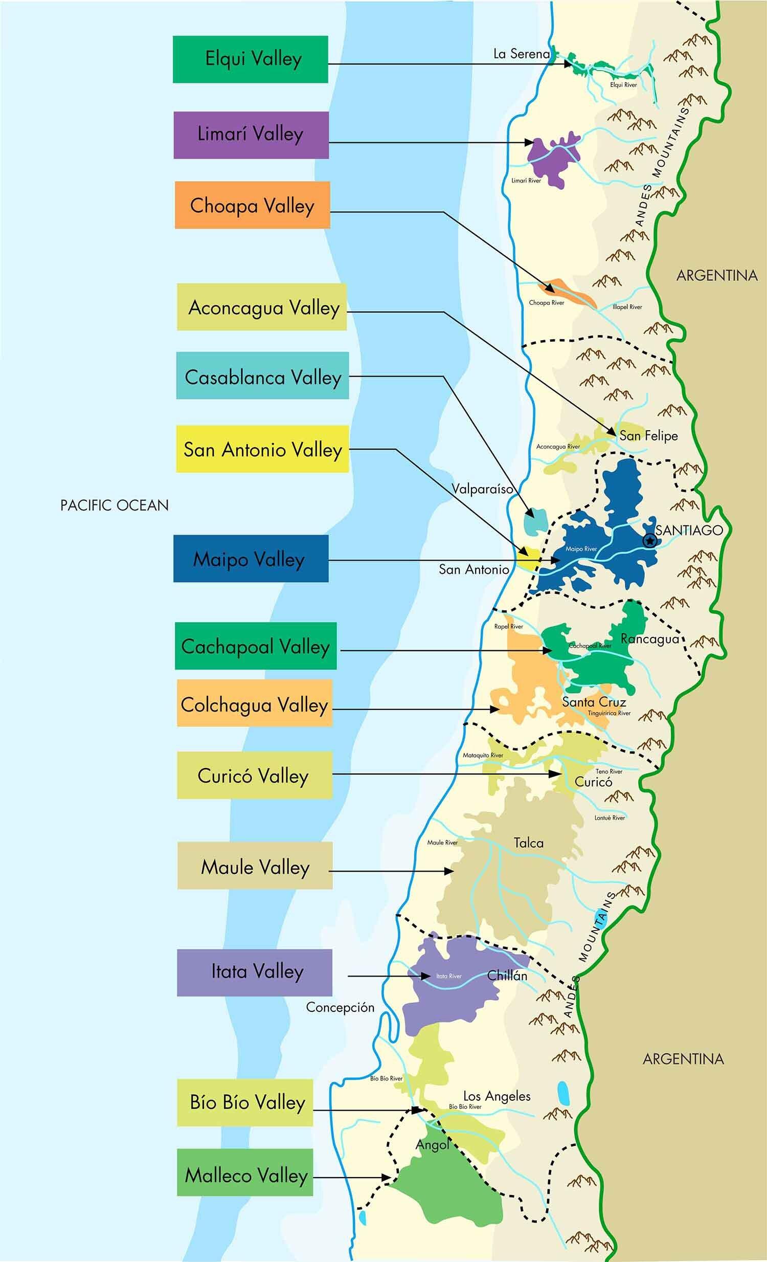 Chile Wine Map Regions: starchefs.com