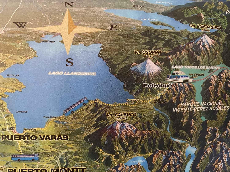 Map Lake District Chile Lago Llanquihue