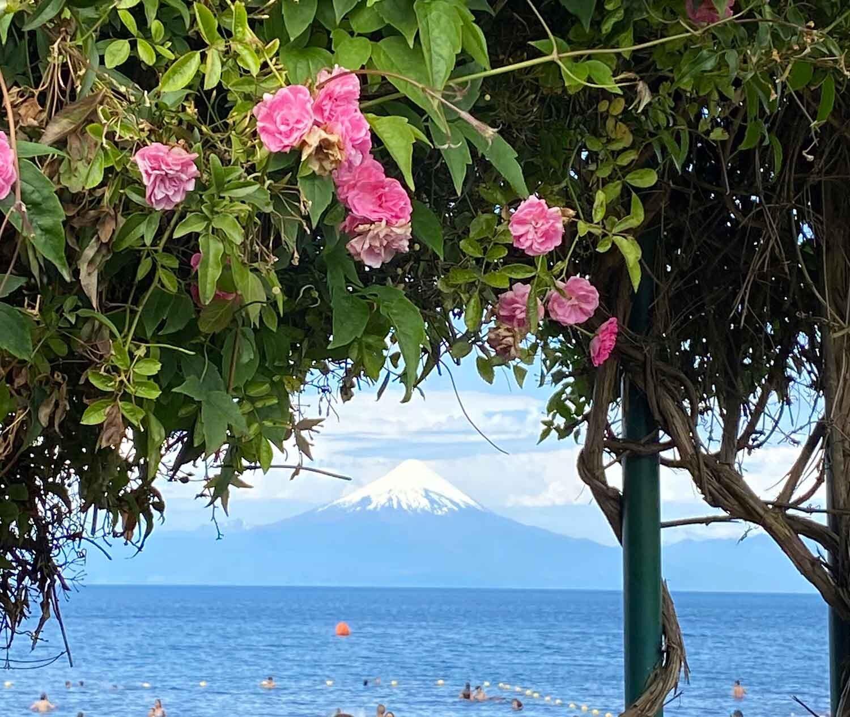 View Osorno volcano Frutillar Lake Llanquique Patagonia Chile