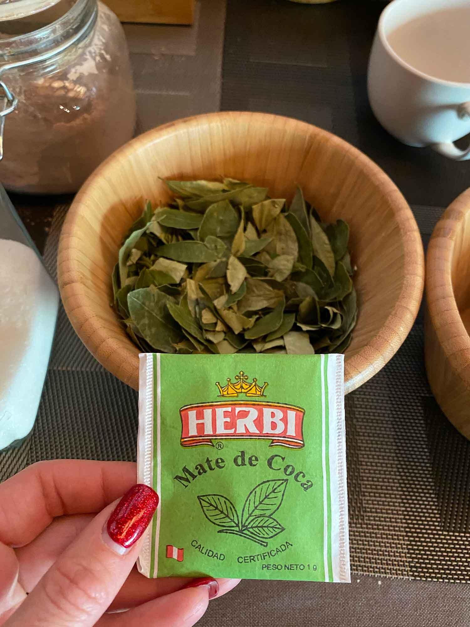 Mate De Coca Tea leaves in bowl Chile hotel breakfast
