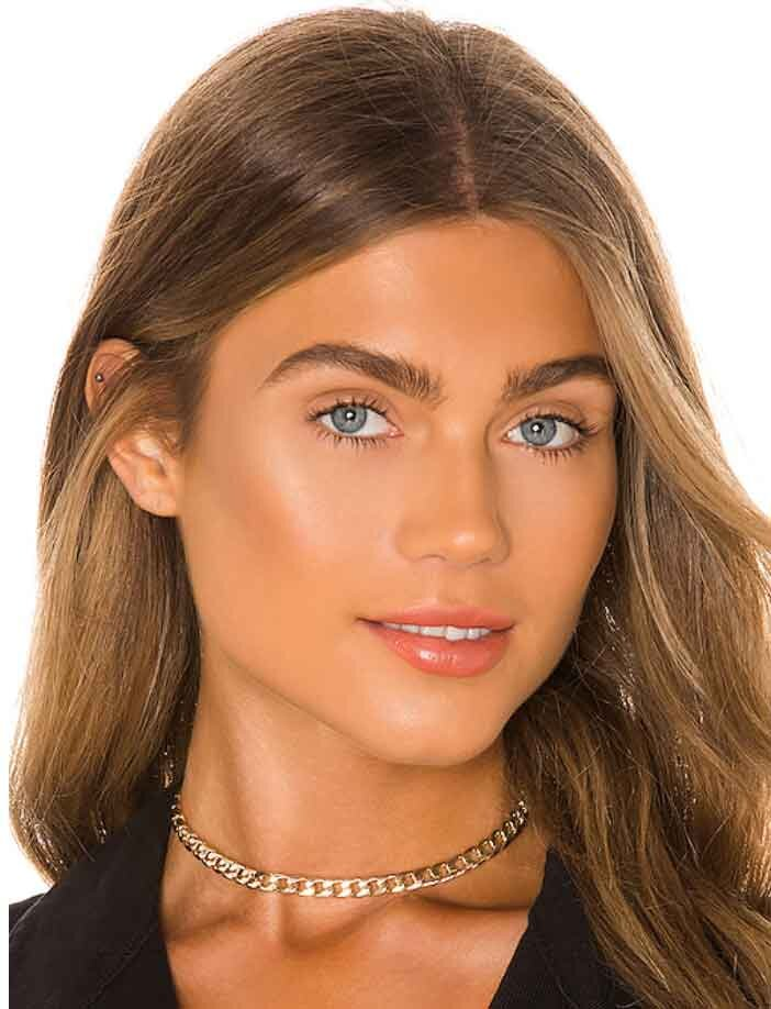 Valentines day gifts for her Model wearing gold choker necklace