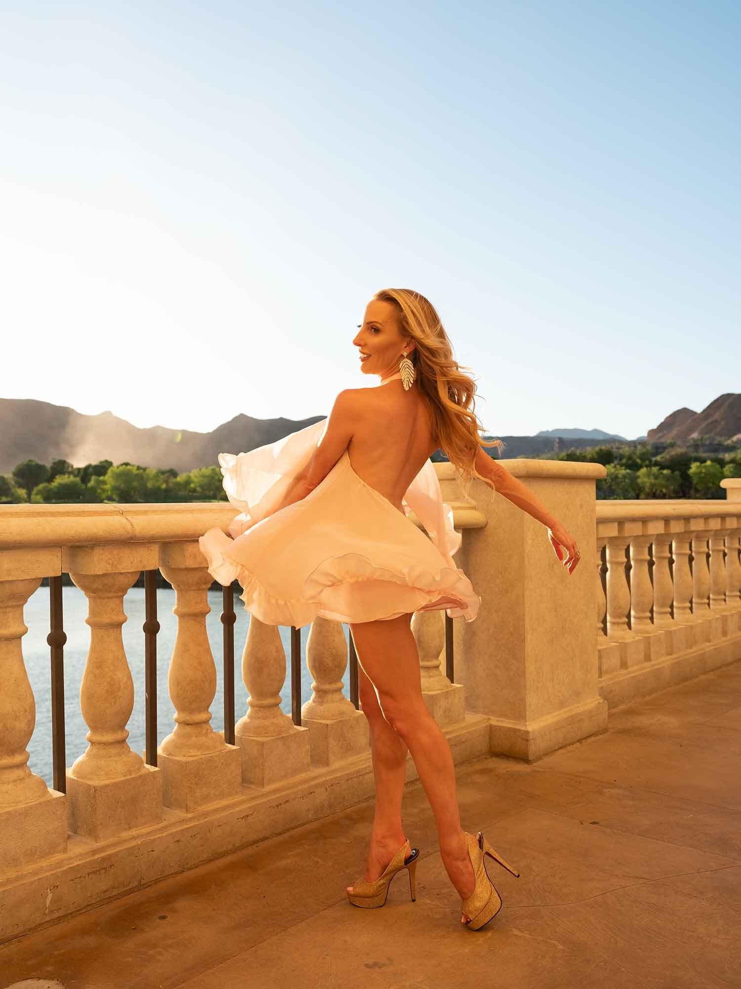 Fitness model Eve Dawes dancing spring 2020 sunset
