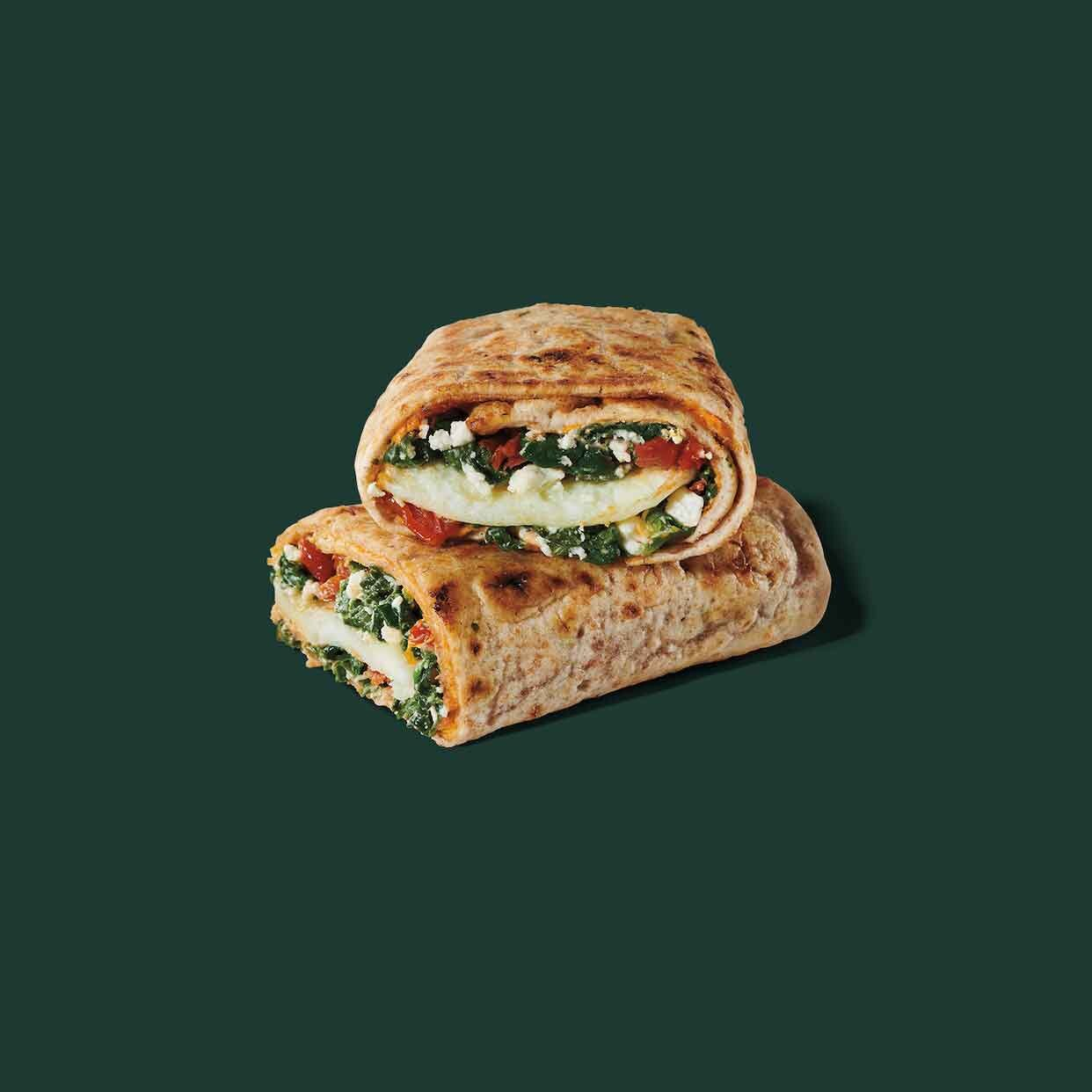 Starbucks healthy spinach, feta, cage-free egg white wrap best low cal low sugar starbucks drinks food