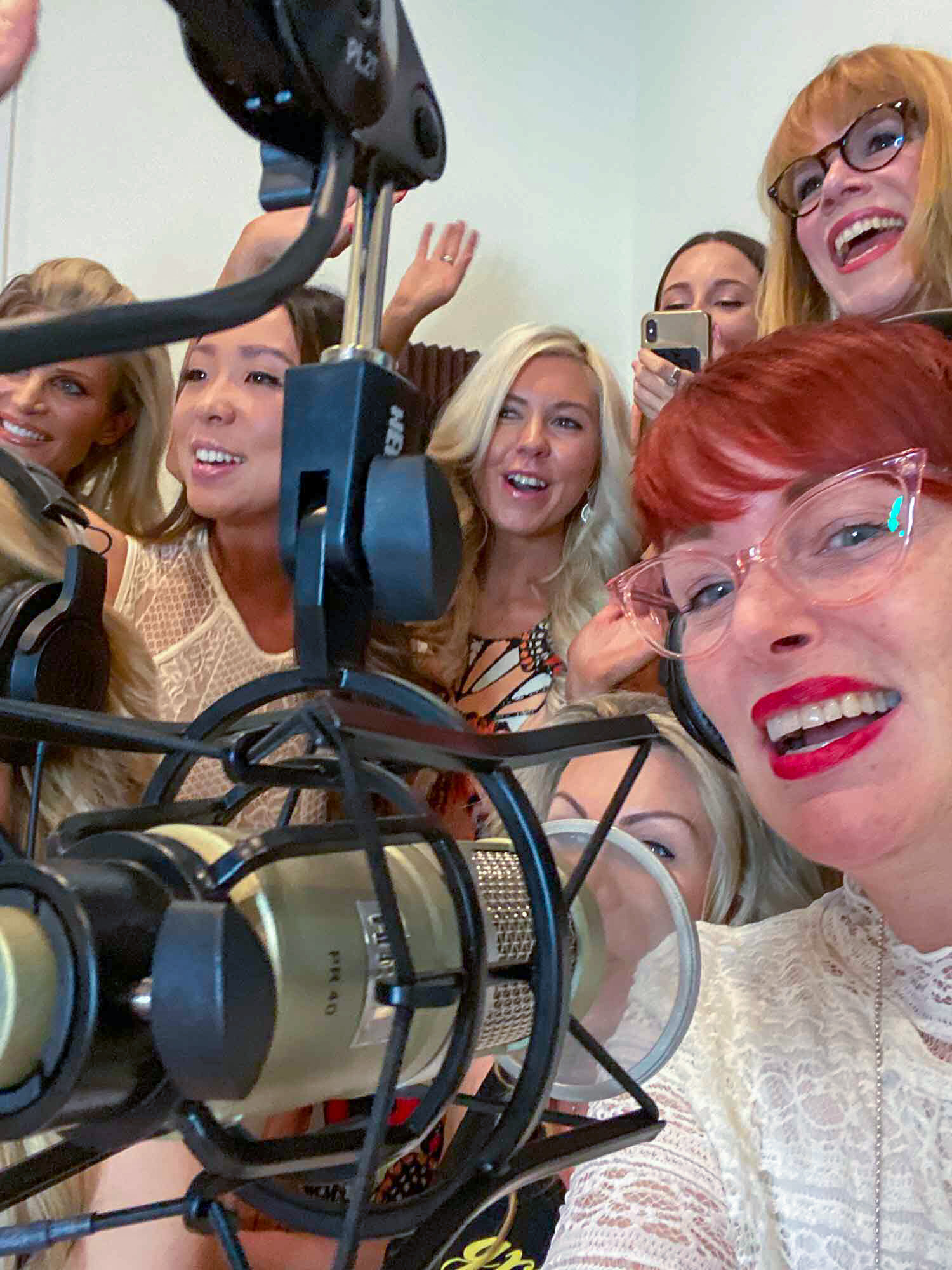 Panel Beauty experts at Glamour & Gains podcast studio