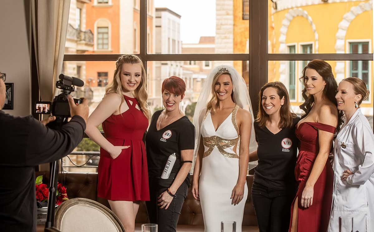 Hair makeup team doing Vegas bridal party makeover
