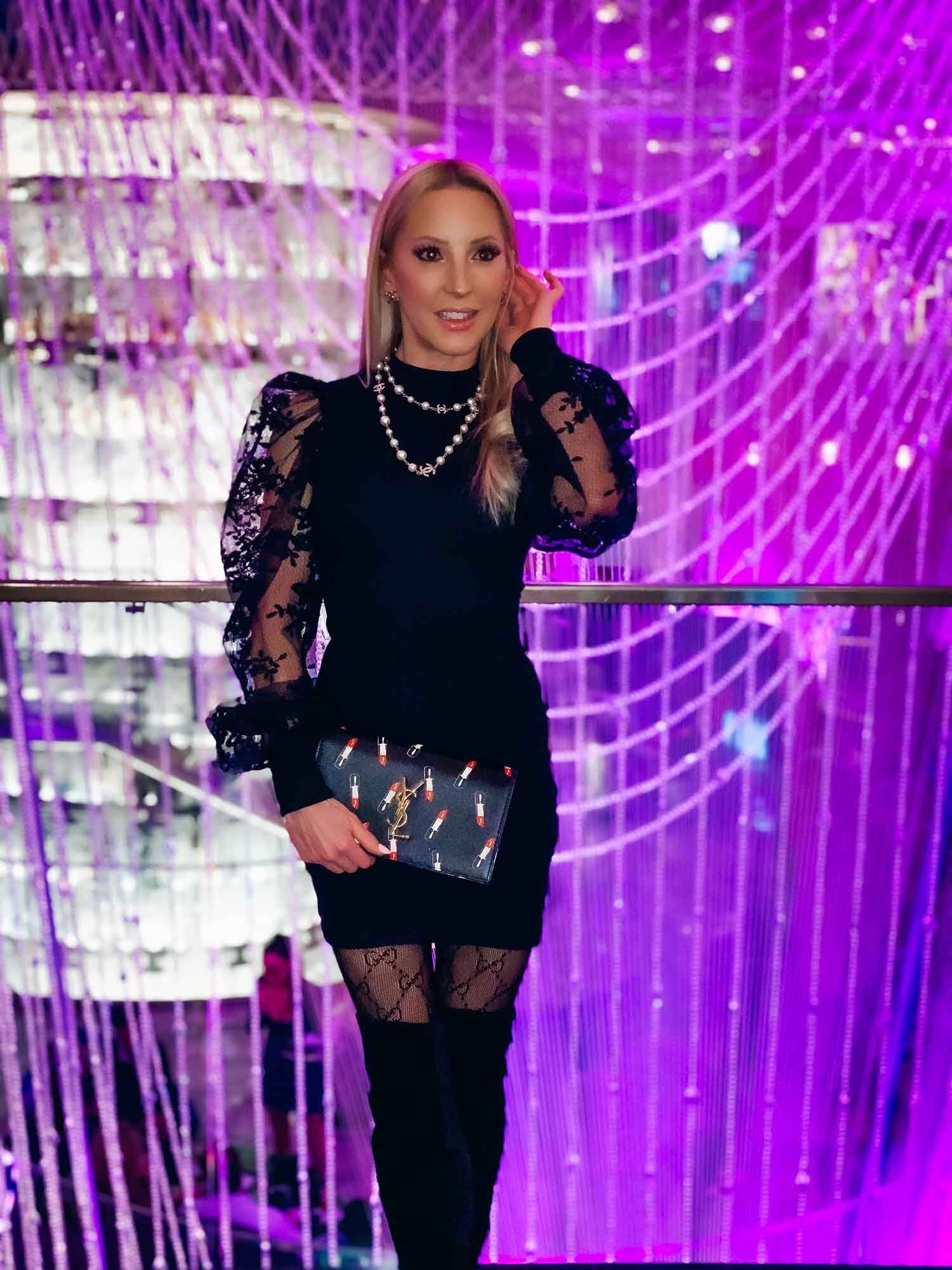 Femme Luxe Finery  Black Floral Lace Puff Sleeve Bodycon Mini Dress  Fashion blogger model Eve Dawes Vegas