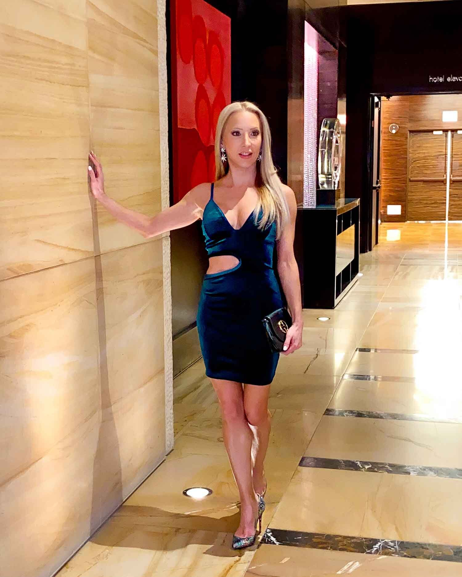 Femme Luxe Emerald Strappy Cut Out Side Bodycon Mini Dress