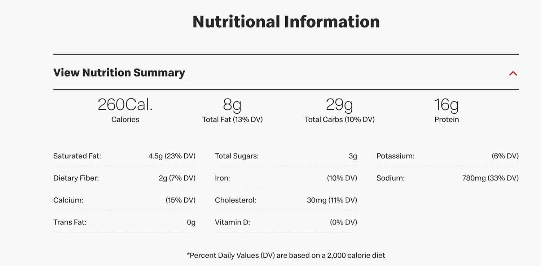 McDonalds Egg White Delight Muffin nutrition 260 calories