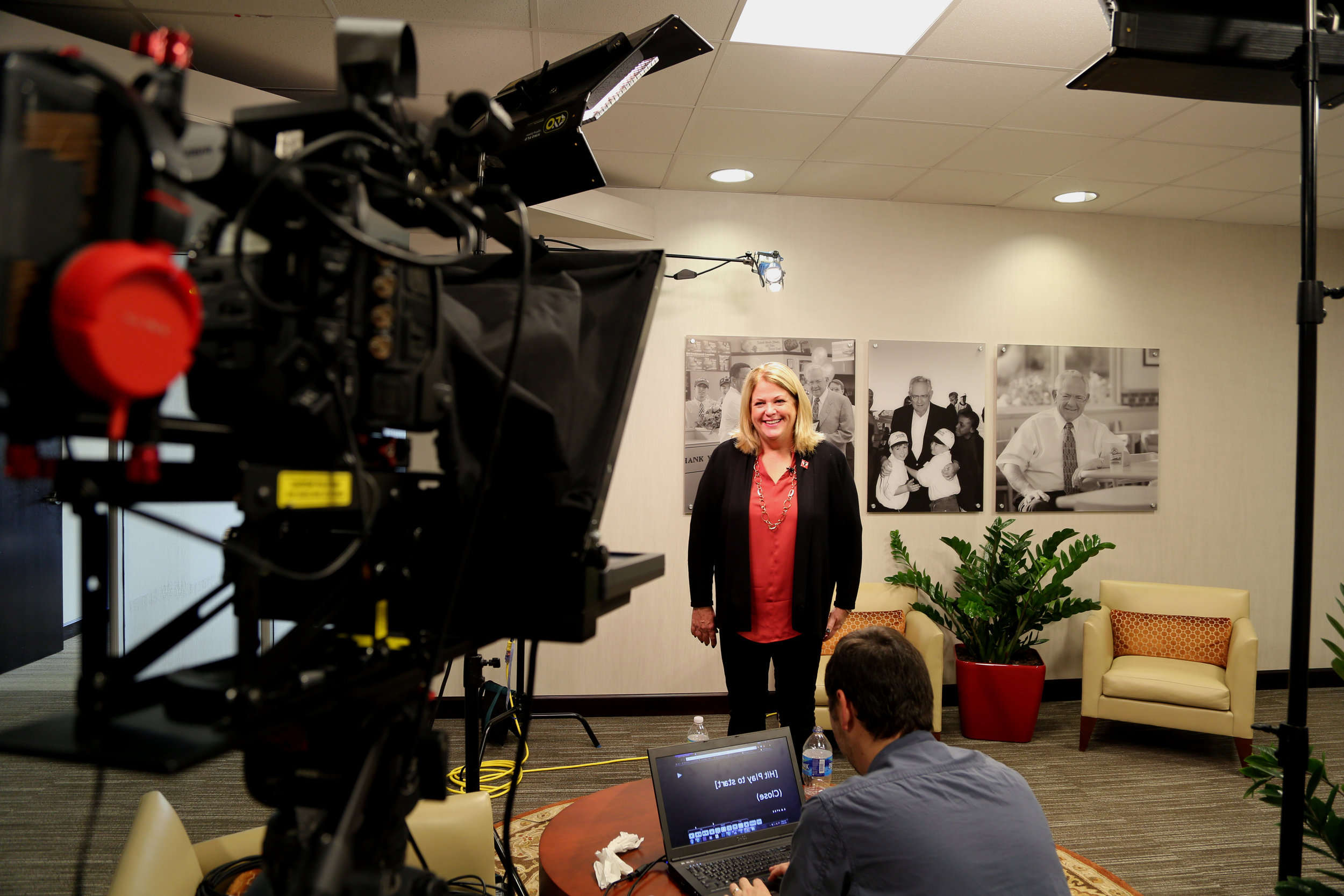 Wendy Thomas getting ready to record the introduction the Fostering an Unconditional Love.